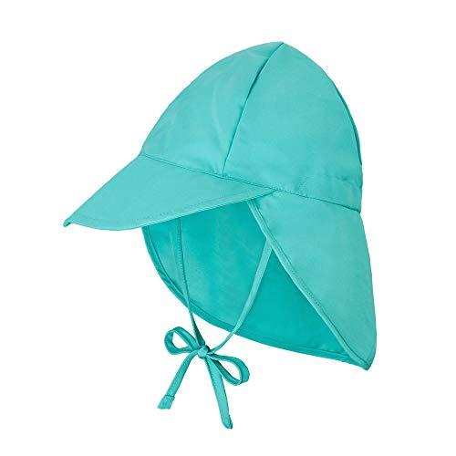 Atuka Sombrero de sol unisex para bebé, transpirable, para la playa, con cintas para atar y protección para la nuca, sombrero de verano lima 3-18 meses