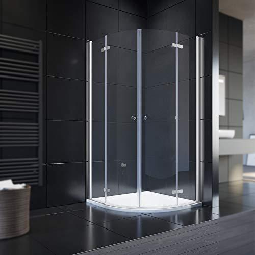 Duschkabine Runddusche mit Duschtasse + Ablaufgarnitur, 6mm ESG Glas Schiebetür Duschabtrennung Viertelkreis 80x80 cm