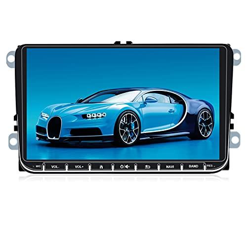 NHOPEEW Radio de Coche 2 DIN Android 9.1 con 9 Pulgadas Pantalla Táctil para VW Passat Golf MK5 MK6 Jetta T5 EOS Polo Touran Seat Sharan, Autoradio Bluetooth/GPS/FM/RDS/USB/SD, Apoyo Carplay.