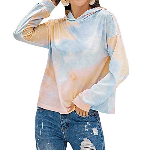 Damen Langarm Sweatshirt Tie Dye Hoodie Herbst Pullover Loose Casual Hoodie Bluse...
