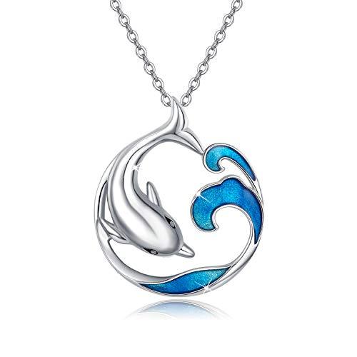 Collar de delfín Estilo asiático joyería de la Buena Suerte, Ondas misteriosas orientales del Agua Collar con Colgante para Mujer, Plata de Ley 925 océano Regalo Navidad para su Esposa mamá