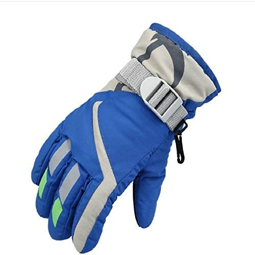 Jiangym Clothing & Beauty Outdoor Children Thick Warm Skiing Gloves, One Pair(Rose Red) Clothing & Beauty (Color : Blue)