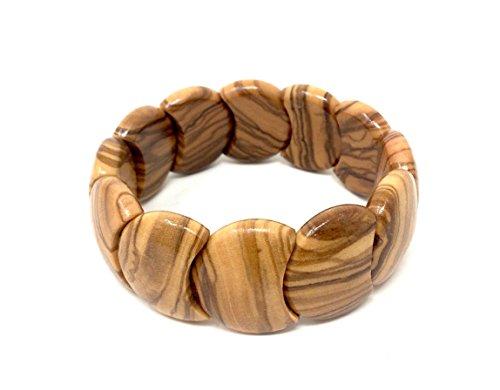 Armband aus Olivenholz handgemacht Holzschmuck Natur Schmuck Gliederarmband flexibel und dehnbar
