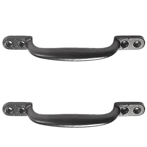 2X Black Cast Iron 6'/150mm Hot Bed Handles Door/Shed/Garden Gate D Pull Handles