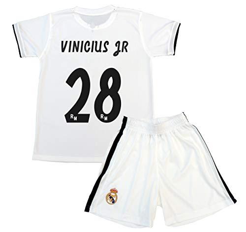 Real Madrid Conjunto Camiseta y Pantalón Primera Equipación Infantil Vinicius JR Producto Oficial Licenciado Temporada 2018-2019