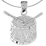 Jewels Obsession Silver Snare Drum Necklace   Rhodium-plated 925 Silver Snare Drum Pendant with 18' Necklace