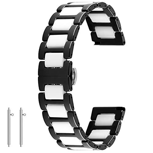 Kai Tian Reloj de pulsera de cerámica de liberación rápida, 20 mm, 22 mm, cierre plegable, para hombre y mujer, color blanco y negro, 22mm,