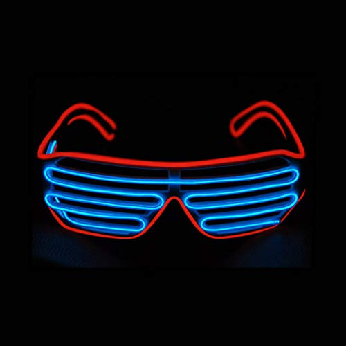 KingCorey Glow Shutter Neon Rave Brille EL Wire blinkende LED Sonnenbrillen leuchten DJ Kostüme für Party, 80er Jahre, EDM (Rot+Blau)