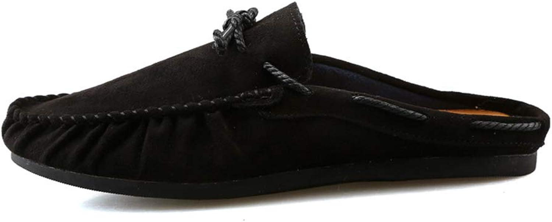 ZHRUI Mens Slip on Boat shoes Driving Classic Soft Sole Non Slip Deck shoes (color   Black, Size   UK 9)
