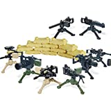 Trendyz Ultimate Heavy Artillery Big Guns Pack with Sandbags - Military Army Weapons and Accessories Mortar Building Block Toy for Custom Bricks Minifigures (Complete Set)