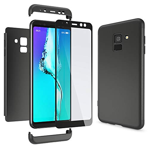 NALIA 360 Grad Handyhülle kompatibel mit Samsung Galaxy A8 2018, Full-Cover und Glas vorne hinten Hülle Doppel-Schutz, Dünn Ganzkörper Hülle Etui Handy-Tasche, Bumper und Bildschirmschutz, Farbe:Schwarz
