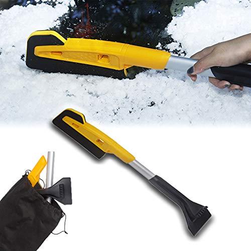 Kwak\'s Eiskratzer für Windschutzscheibe Schneeräumung Eva Bürstenhaar ABS Windschutzscheibe Schneeschaufel für Auto Limousine LKW SUV mit schwarzer Aufbewahrungstasche - 64 * 12,5 * 11,5 cm