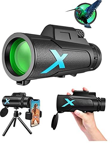 Monocular 12 x 50 HD Telescopio Impermeable monoculo telescopio portatil para viajes de caza, juego de pelota, concierto con Adaptador de Soporte para Smartphone y trípode