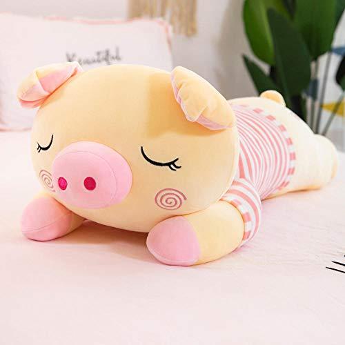 Gestreept varkentje groot superzacht poppenbed Slaapkussen Kussen Girl Gift Knuffel-Pink_40cm