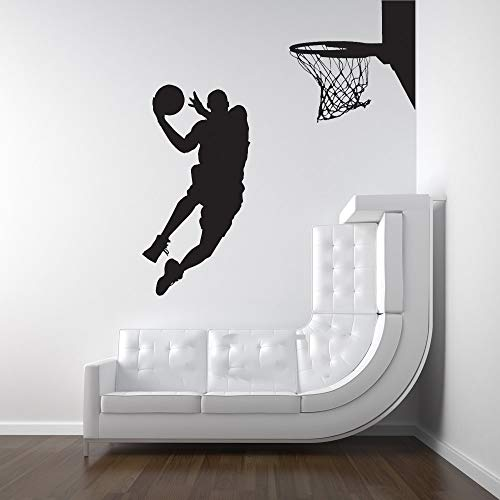Pegatina De Pared Frases Michael Jordan Jugador De Baloncesto Dunk Ball Dormitorio Decoración Silueta Pared Arte Pegatina Para Niños Dormitorio