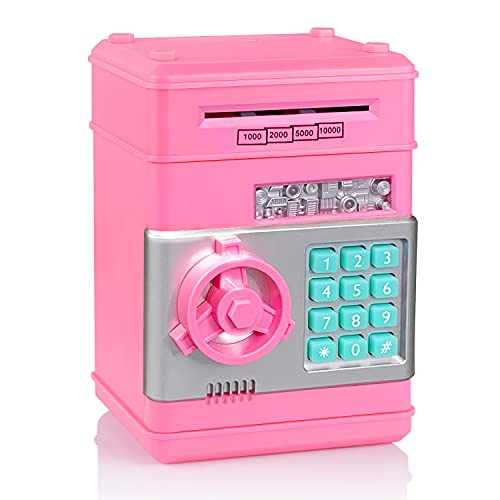 TUSEASY Piggy Bank, Birthday Toys Gifts for 4 5 6 7 8 9 10 Year Old Boys Girls, Electronic Real Money Coin ATM Machine, Plastic Large Saving Bank Safe Lock Box, Kids Kawaii Cute Stuff (Pink)