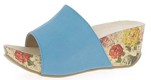 Andrea Conti Damen 1545707 Keil-Pantoletten, Größe:38 EU, Farbe:türkis