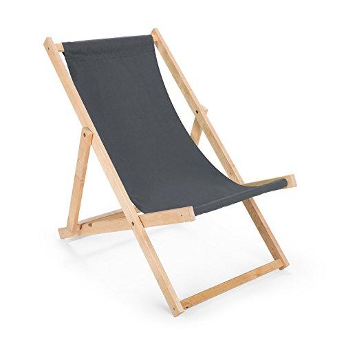 BAS 2 x Liegestuhl aus Holz Klappbar Holzklappstuhl Relaxliege Gartenliege Strandstuhl (Grau)