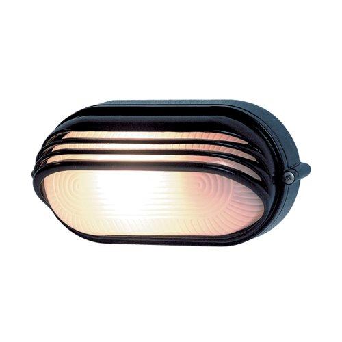 REV Ritter 0590057555 Ovalleuchte Aluminium mit Abd, 60 Watt, schwarz