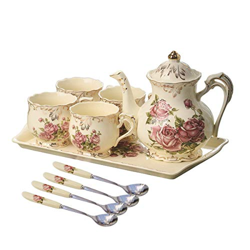YOLIFE Red Rose Ivory Ceramic Tea Set,Vintage Tea Set With Teapot,Pretty Tea set Service for 4