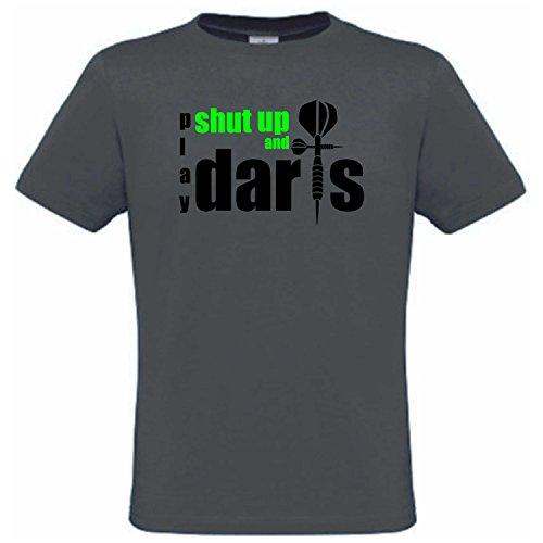 Dart T-Shirt, Dart Shirt Bedruckt mit Shut up and Play Darts Herren T-Shirt (grau, XL)