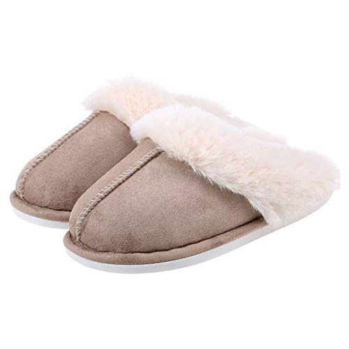 Womens Suede Comfy Slippers Fluffy Warm Non-Slip Comfortable Slip-on House Shoes Khaki Size 7-8
