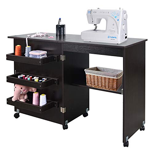NSdirect Sewing Table, Folding Sewing Craft Cart&Sewing Cabinet Miscellaneous Sewing Kit Art Desk...