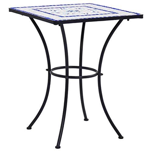 Festnight Mesa de Mosaico para Cafetería Cerámica Mesa de Jardín Mesita de Café para Terraza Balcón Azul y Blanco 60 cm Resistente a la Intemperie 🔥