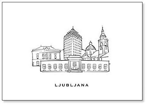 Kühlschrankmagnet Ljubljana Slowenien berühmte Architektur, handgezeichnet – klassischer Kühlschrankmagnet