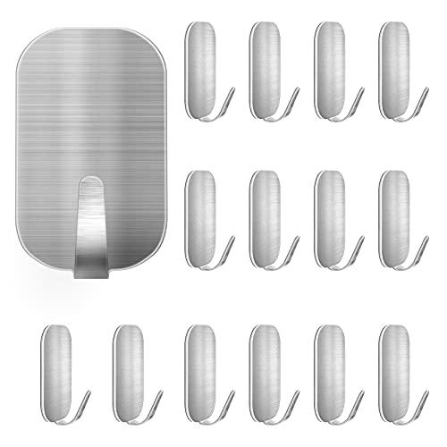 Auxmir Ganchos Adhesivos para Pared 15 piezas de Acero Inoxidable sin Agujeros, Ideal para Pared de Baño, Cocina, Oficina, Color Plateado