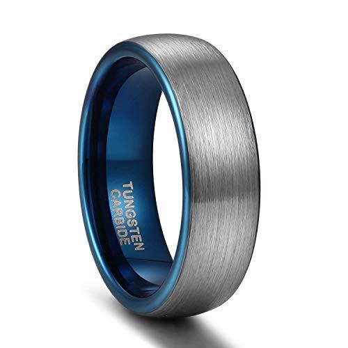 Titaniumcentral 6mm/8mm Wolframcarbid Ringe Gebürstet Trauringe Verlobungsringe (Blau(6mm), 57 (18.1))