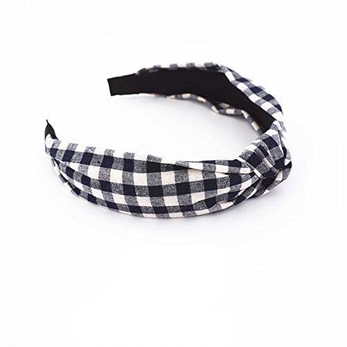 MultiKing hoofdbanden hoofddoek haaraccessoires haarbanden hoofdband accessoires Wild Karo print brede kant in het midden geknoopt ruiten zwart