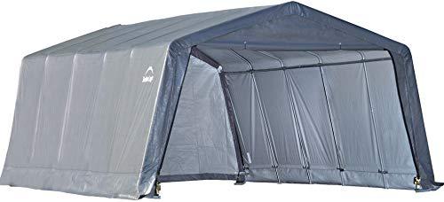 ShelterLogic Peak Style Garage-in-a-Box, Grey, 12 x 20 x 8 ft.