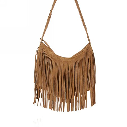 FakeFace Modische Damen Franse Tasche Schultertasche Umhängetasche Mattiert Kuriertasche Einkaufstasche Cross Body Bag (Kaffee)