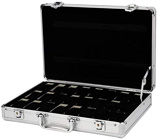 Caja de Relojes de Cuero Caja de reloj de 24 bits portátil y duradero exhibición del reloj caja de aluminio de la caja de almacenaje del cojín del reloj del regalo Caja de almacenamiento for los regal