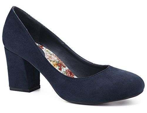 MaxMuxun Zapatos de Tacón Ancho Punta Redonda Suede Diseño Cómodo Diario para Trabajo Azul Oscuro para Mujer Talla 36 EU