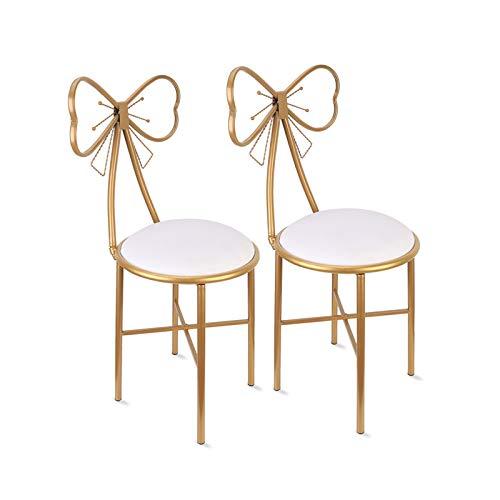 Confezione da 2 sgabelli da toeletta a forma di farfalla, stile nordico creativo, sedia a forma di cuore, per ristorante o per trucchi, sedia da toeletta, altezza 45 cm, sedia in pelle bianca