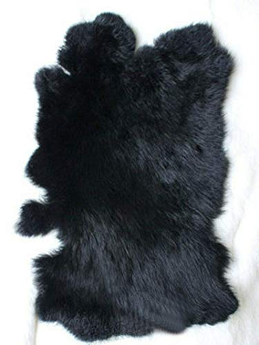 """Natural Tanned Assorted Rabbit Pelts Rabbit Fur Hide (10"""" by 12"""" Rabbit Pelt with Sewing Quality Leather) (Natural Black)"""