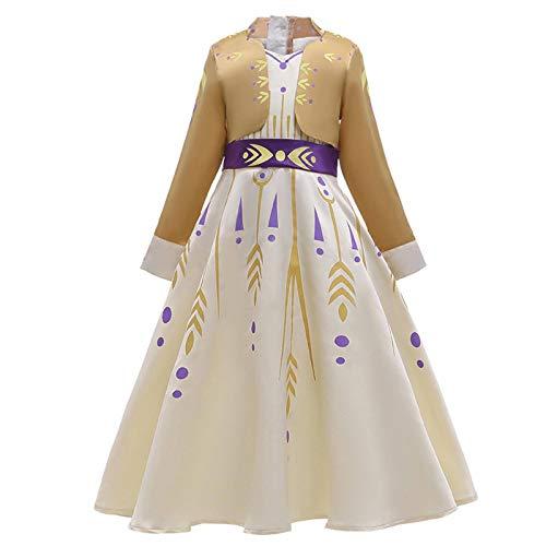 Brogtorl Vestido de princesa para nias, disfraz de Anna Elsa, cosplay, jazmn enredado blanco nieve, vestido tianna vestido de reina de nieve 2 fantasa Frock