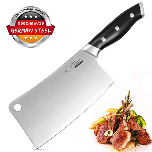SKY LIGHT Meat Cleaver, 7 inches Chopper Knife German High Carbon Stainless Steel for Home to Cut Bones, Professional Butcher's Knife Heavy Duty Blade for Kitchen and Restaurant
