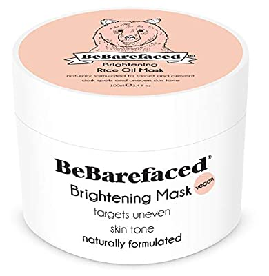 BeBarefaced Brightening Face Mask With Rice Bran Oil - Anti Ageing Facial Treatment For Hyperpigmentation, Uneven Skin Tone, Dark Spots and Sun Damage - With Kaolin Clay and Natural Antioxidants