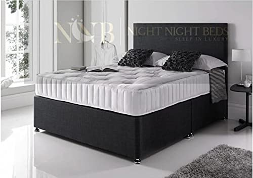 Night Night Beds- Luxury Black Linen Divan Base With Headboard & amp Mattress (King Size W: 150cm L: 200cm)
