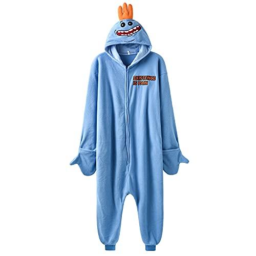 Mr Meeseeks Cosplay Costume Funny Onesie Cartoon Blue Jumpsuit Halloween Pajama Suit (XL)