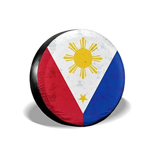 Cubierta de neumático de repuesto impermeable con bandera retro de Filipinas para Jeep, remolque, RV, SUV, autocaravana y rueda de vehículo Protector de neumático resistente a la intemperie