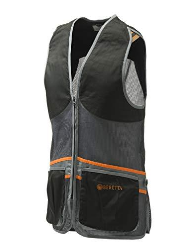 BERETTA Schießweste FULL MESH VEST Tontauben TRAP SKEET leichte Weste schwarz-grau, Größen:L
