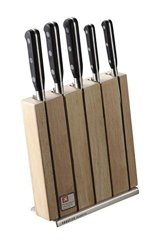 Richardson Sheffield SABATIER TROMPETTE Messerblock, Holz, inkl. 5-teiliges Messer-Set, Messerblock, Gemüsemesser, Allzweckmesser, Kochmesser, Schinkenmesser & Brotmesser, Carbon & Edelstahl