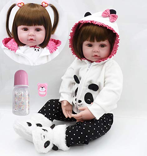 Pinky Lifelike 18 Inch 45cm Lovely Reborn Baby Girl Dolls Realistic Looking Newborn Baby Doll Toddler Soft Vinyl Silicone Babies Birthday and Xmas Gift
