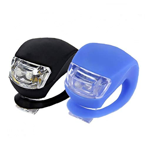 Bicicleta Set Light, 2 Led Brillante De Silicona Resistente Al Agua Para Bicicleta Parte Posterior Del Frente Lámpara Linterna De Ciclo Del Flash Del Kit De Batería-incluido (negro, Azul) Ligero De La