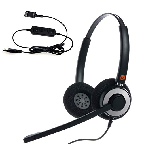 IPD IPH-165 Binaural NC Headset with USB Adapter Cable to PC with Mute Switch and Volume Controller for Skype, Skype for Business and Other Soft Phones