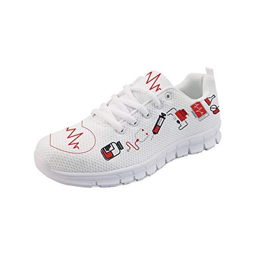 Coloranimal Gym Sport-Laufschuhe für Damen Niedliche Krankenschwester-Herzmuster Joggen Gehen Sie zu Fuß Bequeme Laufschuhe Leichte Komfort-Atmung Schnürschuhe - EU-Größe 38